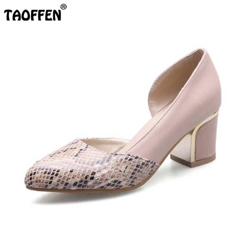 TAOFFEN Size 34-43 Sexy Lady High Heel Shoes Women Pointed Toe Patchwork Thick Heel Pumps Party Club Spring Shoes Women Footwear taoffen size 33 43 lady high heel shoes women print platform heels pumps round toe party club lady wedding female footwear