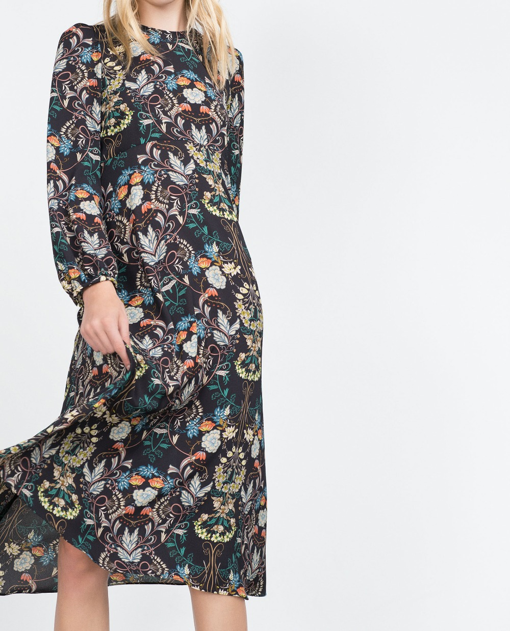 05222ba9cb0 2015 Autumn Winter Women Elegant Fashion Floral Printed Midi dress Long  sleeved Round Neck Long Pleated Layered Dresses-in Dresses from Women's  Clothing on ...