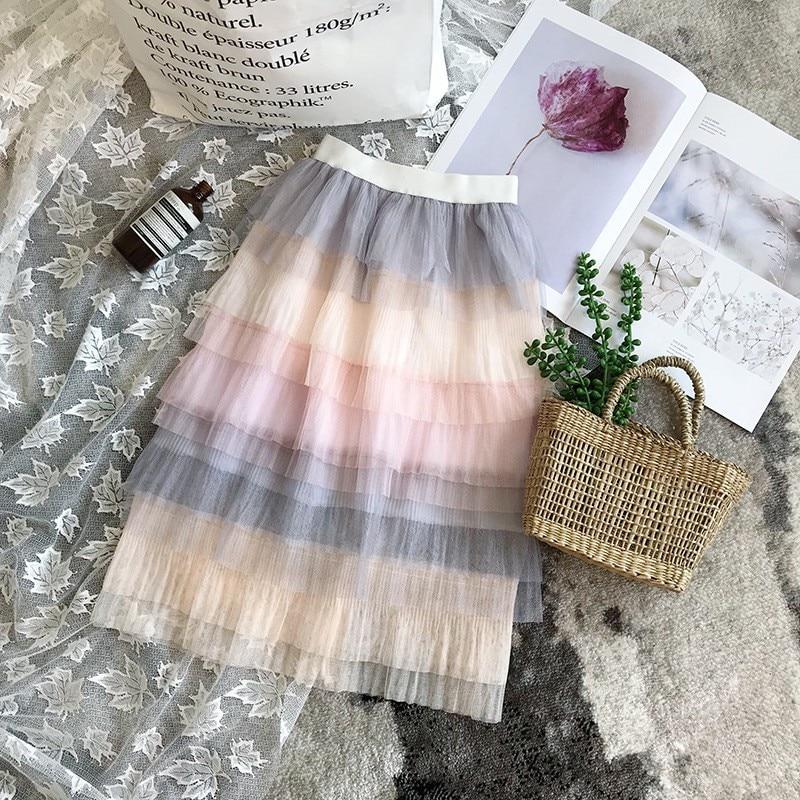 Long Mesh Skirt Summer New Casual Loose Kids High Waist Elastic Girls Skirts 3 8Y 2019 Children Pleated Skirt|Skirts|   - AliExpress