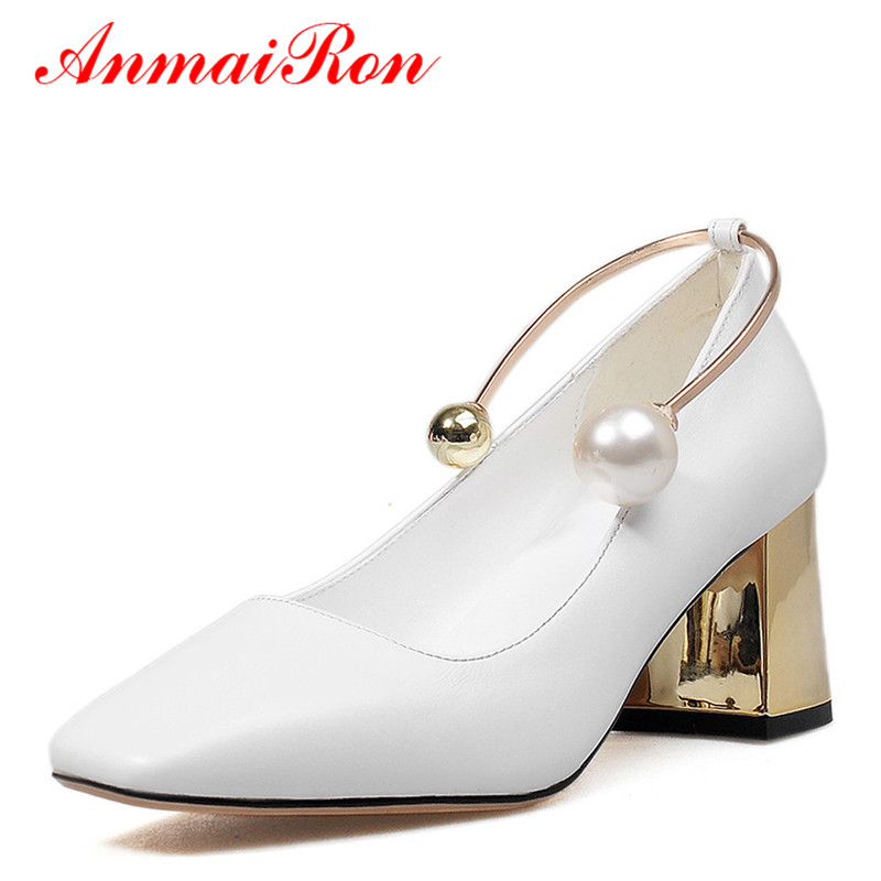 ФОТО ANMAIRON High Heels Shoes Woman Pumps Metal Charms Large Size 34-43 White Shoes Slip-on Genuine Leather Shoes Zapatos Mujer