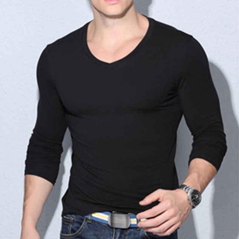 Nieuwe Mode Mannen Spier Lange Mouwen Slanke T-Shirts O-hals Casual Skinny Fit T-shirt Tee Top Stylsh Heren Kleding
