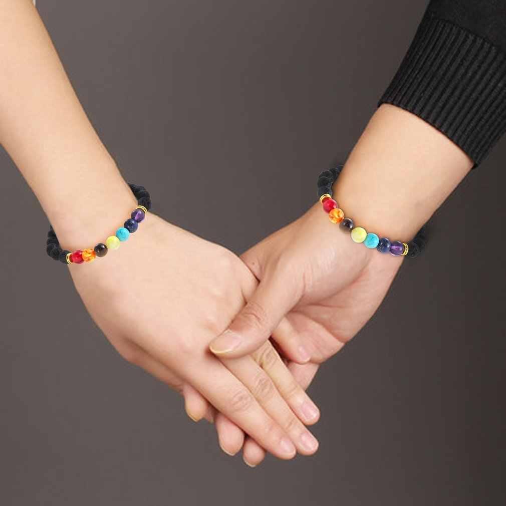 Ręcznie robione leczenie przeciw zmęczenie 7 Chakra matowy kamień naturalny koraliki z lawy wulkanicznej bransoletka biżuteria kobiety mężczyźni Reiki klejnot prezent
