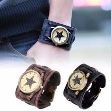 1pc Girls males Watch clock Cool Retro Punk Rock Brown Massive Huge Leather-based Bracelet Leather-based Males Quartz Wristwatch analog spherical X3