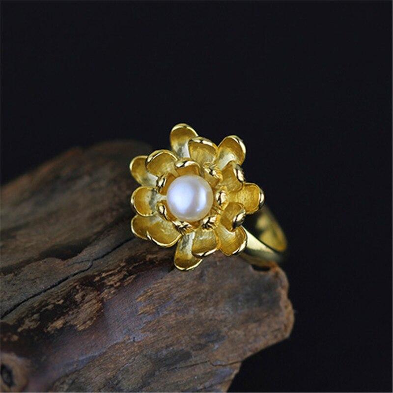 Lotus Fun Real 925 Sterling Silver Natural Pearl Handmade Designer Fine Jewelry Blooming Lotus Flower Rings