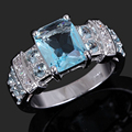 Wholesale Female Jewelry Brand New Fancy Woman's Cute Blue Rhinestones women Ring White Gold Filled Nice Party Rings