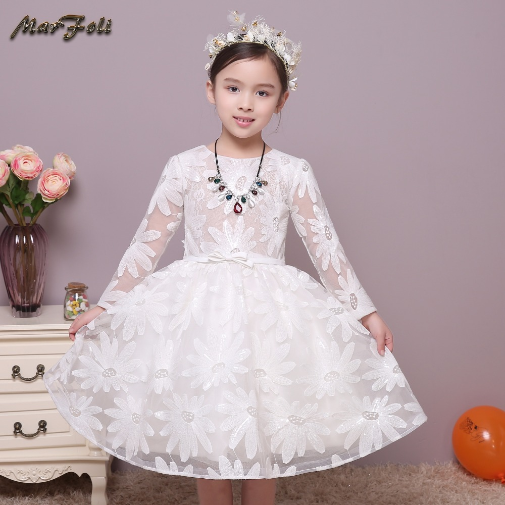 Marfoli Flower Girl Dress Pink Rose Wedding Pageant Kids Boutique 2017 Summer Princess Party Dresses Clothes ZT0029 marfoli girl princess dress birthday