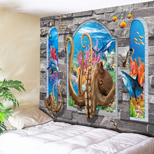 3D Beach Wall Tapestry Sea Decorative Tapestry Wall Hanging Tapete Psychedelic Tapestry Octopus Bedroom Wall Art Rug Cloth Large wall hanging art window sea view print tapestry