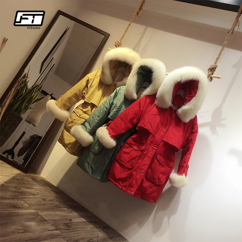 Fitaylor Winter Women Down Coat Large Natural Fur Collar Hooded Parkas Warm Snow Outwear Female Medium Long Jacket