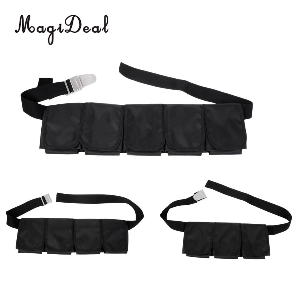 MagiDeal Adjustable Scuba Diving Dive Snorkeling 5/4/3 Pocket Weight Belt Gear Equipment & Buckle For Swimming Replacement Acce