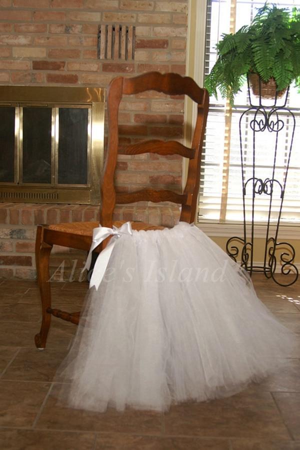 1 Set Wedding Banquet Chair Cover Bow Tulle Tutu Chair