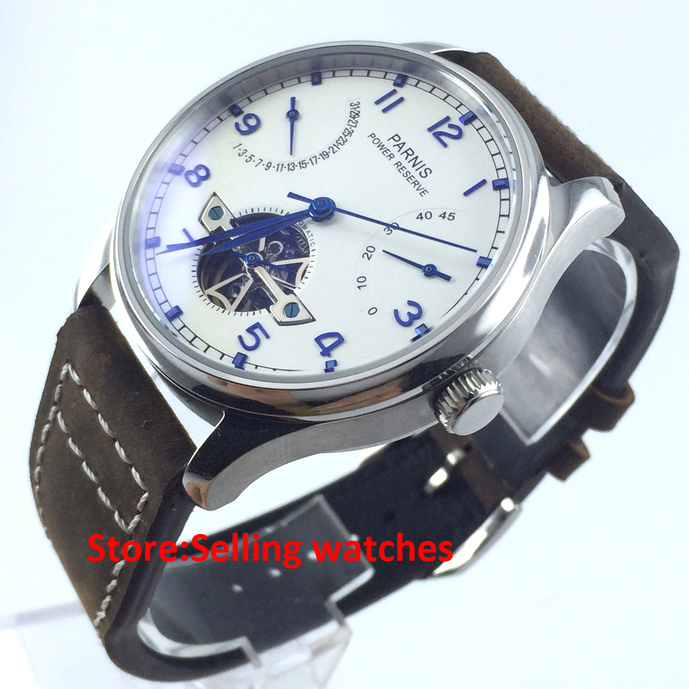 43mm Parnis Power Reserve/White Dial/Blue Perf Automatic Mens Watch X033 PA4318 casual 43mm parnis automatic power reserve white dial blue numbers silver watch case business watch men