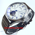 43mm Parnis Power Reserve/White Dial/Blue Perf Automatic Mens Watch X033 PA4318