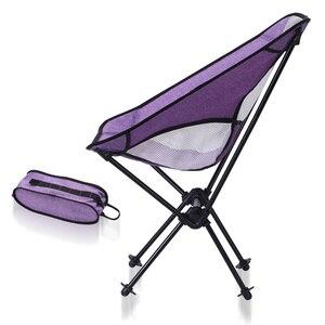 Image 3 - Silla de pesca con forma de luna y 7 colores opcionales, muebles plegables para exteriores, ultraligeros, color morado, 0,9 KG