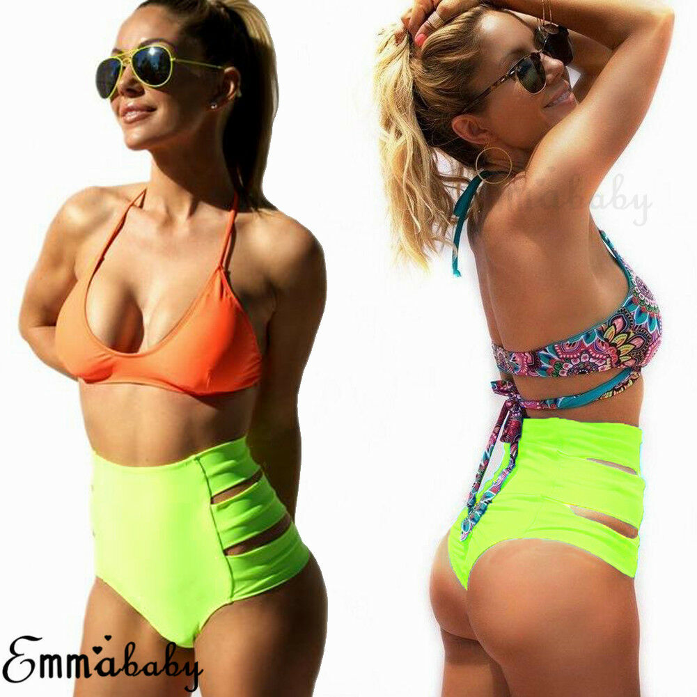 Hot Women Sexy Bikini Thong Bottom Brazilian V Cheeky High Waist Hollow Out Solid Stretch Ruched Ladies Summer Swimwear Beach in Two Piece Separates from Sports Entertainment