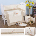 7pcs Baby Bedding Set Newborn Infant Cartoon Crib Kit Detachable Quilt Pillow Bumpers Fitted Sheet Cot Bed Linen