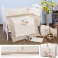 7pcs Baby Bedding Set Newborn Infant Cartoon Crib Kit Detachable Quilt Pillow Bumpers Fitted Sheet Cot Bed Linen