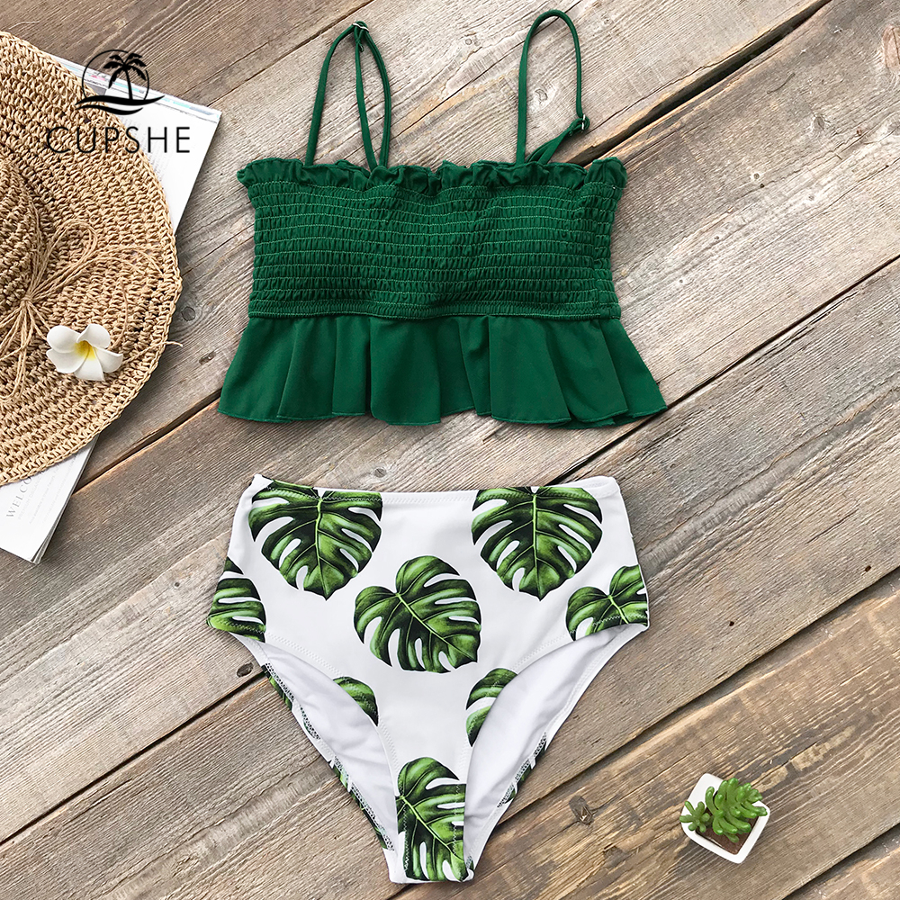 CUPSHE Smocked Green Leaf Print High-Waisted Bikini Sets Women Ruffle Two Pieces Swimsuits 2020 Girl Boho Bathing Suits 2