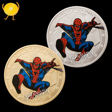 Spider Man Commemorative Coin Super Heroes Science Fiction Movies Coins Collectibles Childrens Animation Cartoon Birthday Gifts