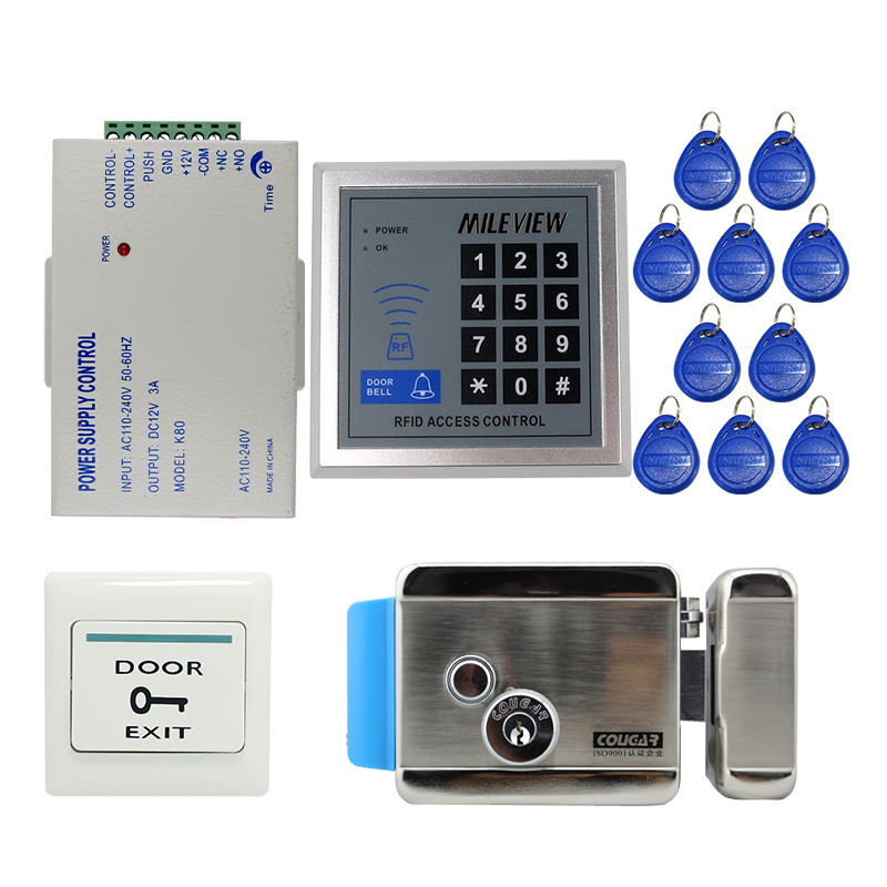 MILEVIEW Cheap! Rfid Door Access Control System Kit Set + Electric Control Door Lock + Rfid Keypad Code IN STOCK Free Shipping mileview rfid code keypad door access control system kit set electric drop bolt door lock in stock free shipping