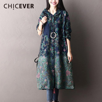 CHICEVER 2018 Spring Hooded Print Women Dress Female Long Sleeve Loose Dresses Of The Big Size