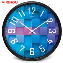Airinou 3D Diamond Lattice design, glass&metal Wall clock, Conference Room Library Science And Technology Hall Decorate