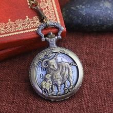 chaoyada women men large digital hollow 12 zodiac sheep animals quartz pocket watches unisex antique flip hanging chain clock