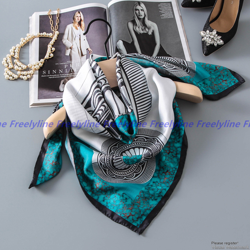 Temperament Print 100% Silk   Scarf   Women Bandana Hijab Shawl Square Silk Twill   Scarf   90*90 Luxury Silk   Scarves   &   Wraps   Gifts