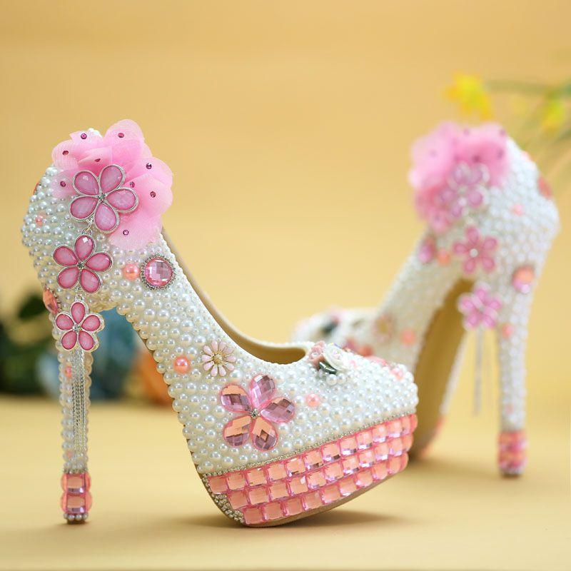 Pompe Robe Luxe Proms Chaussures Main 14cm Cristal Mariage De La Fleur Heel Cérémonie Patty Rose À formes Perles Nq078 Mariée Plates Blanc mnOv8wy0N