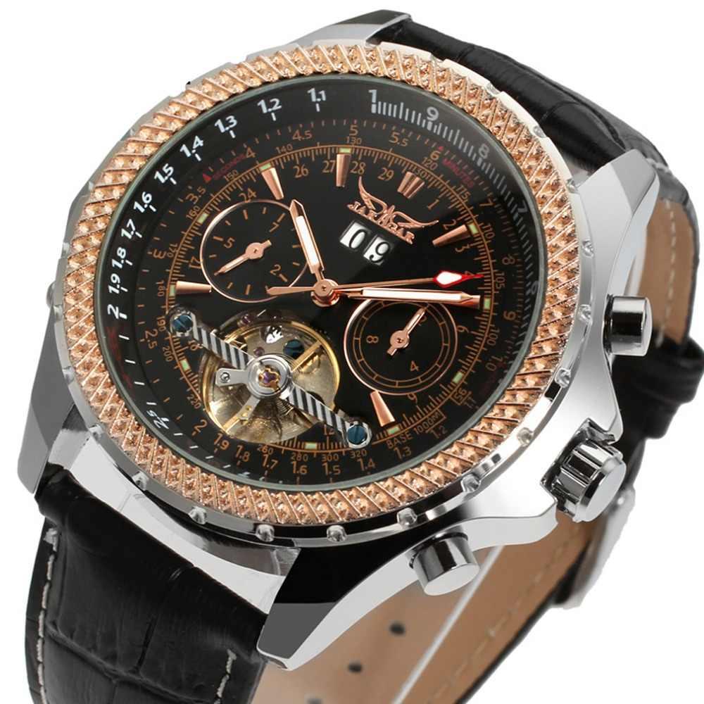 を Jaragar ローズブラックレザー機械式腕時計ファッションカジュアルメンズラグジュアリーブランド自動フライホイール腕時計 Relojes Hombre