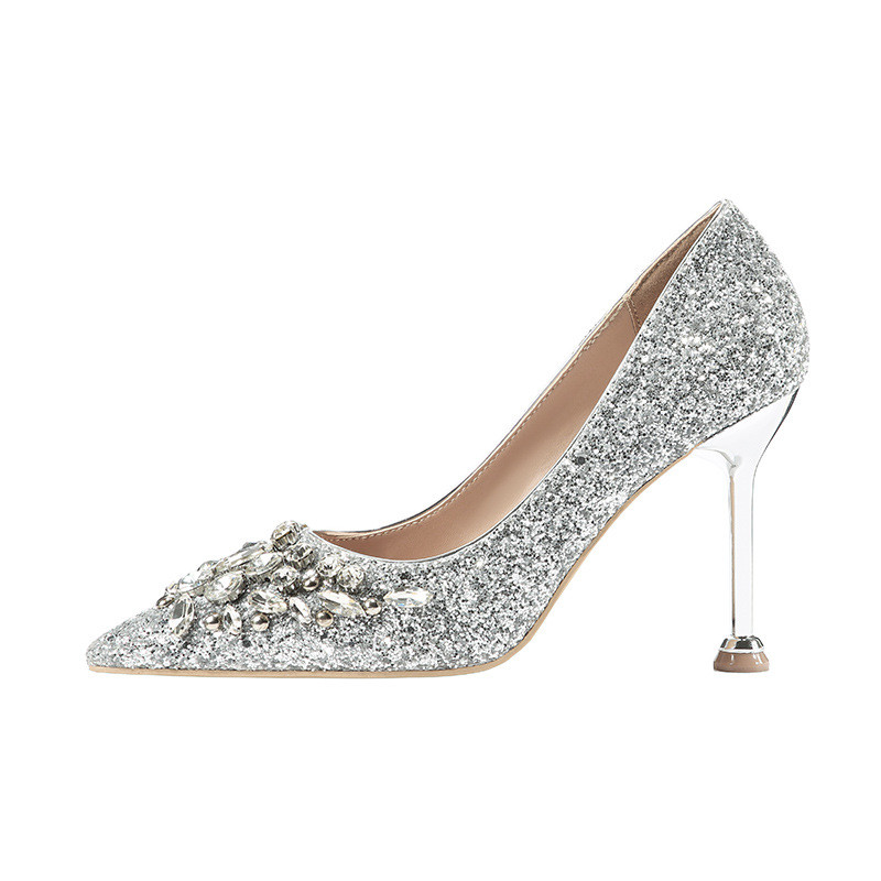 2019 spring and autumn new European and American pointed high-heeled sexy womens shoes silver ljj 05102019 spring and autumn new European and American pointed high-heeled sexy womens shoes silver ljj 0510