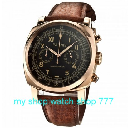 45 mm new fashion PARNIS Japanese quartz movement rose gold case Black dial men s watch
