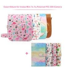 Bolsa de cuero PU para cámara y 96 bolsillos Kit de álbum para Fujifilm Instax Mini 7s 7c Cámara de película instantánea, Polaroid PIC 300 Cámara
