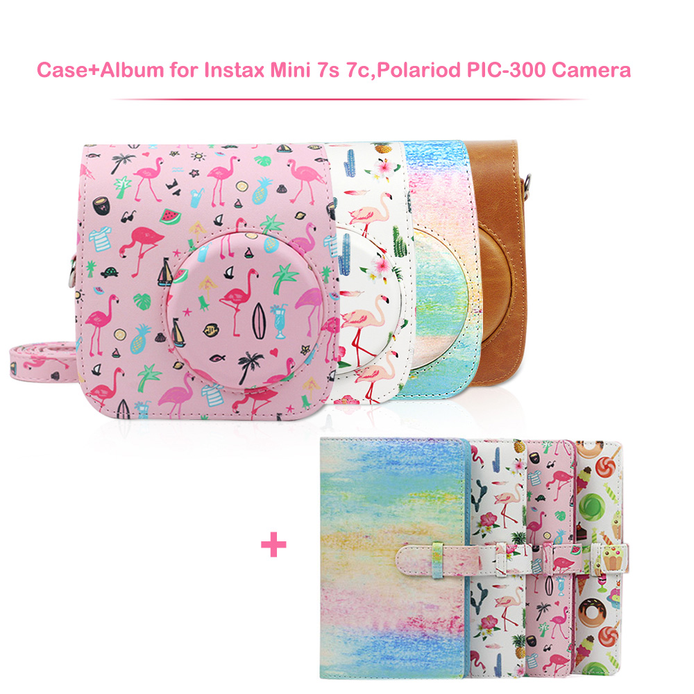 PU Leather Camera Case Bag and 96 Pockets Album Kit for Fujifilm Instax Mini 7s 7c Instant Film Camera, Polaroid PIC-300 Camera image