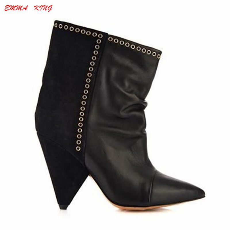 2019 Fashion Suede Leather Patchwork Sexy Ankle Boots Women Spike High Heel Pointy Toe Metal Pleated Flock Ladies Short Boots