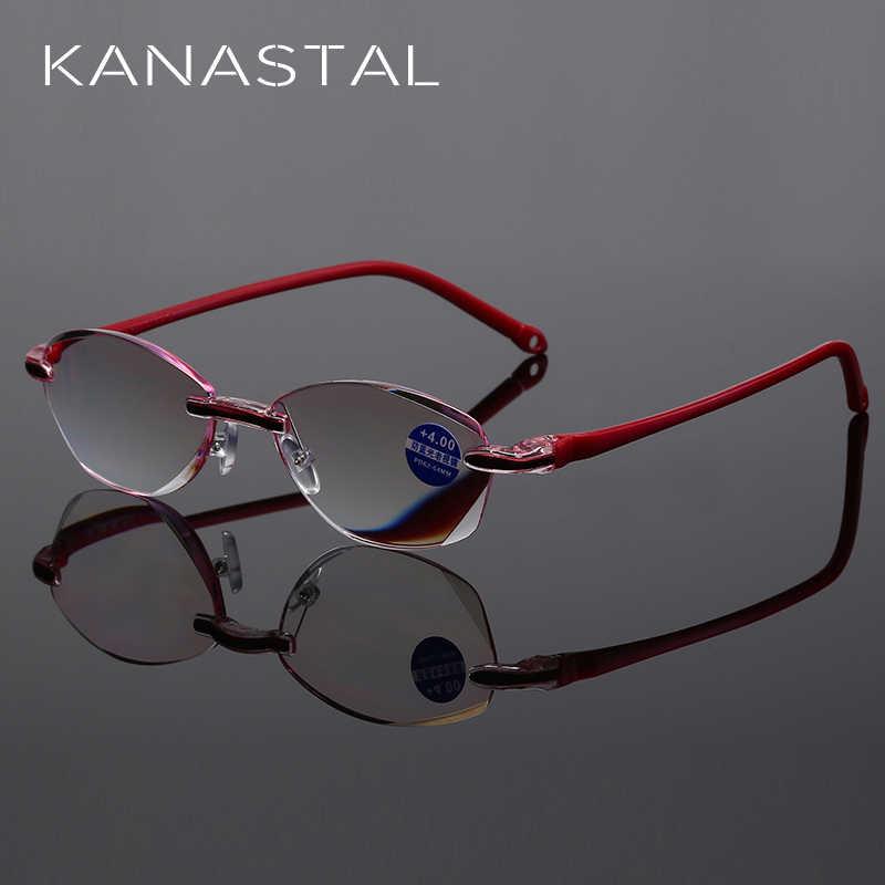 Okulary do czytania kobiety bez oprawek prezbiopia dla pani blokujące niebieskie światło okulary do czytania + 1.0 + 1.5 + 2.0 + 2.5 + 3.0 + 3.5 + 4.0 Ultralight