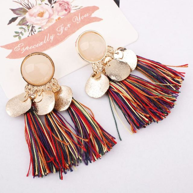 Ethnic Bohemia Women Dangle Drop Earrings Summer Round Resin Tassel for Women Fashion Jewelry 2