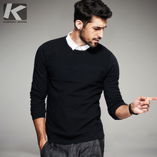 2017 Spring Mens Casual Sweaters Black Plaid Knitted Brand Clothing For Man's Slim Knitwear Pullovers Male Wear Knitting Clothes