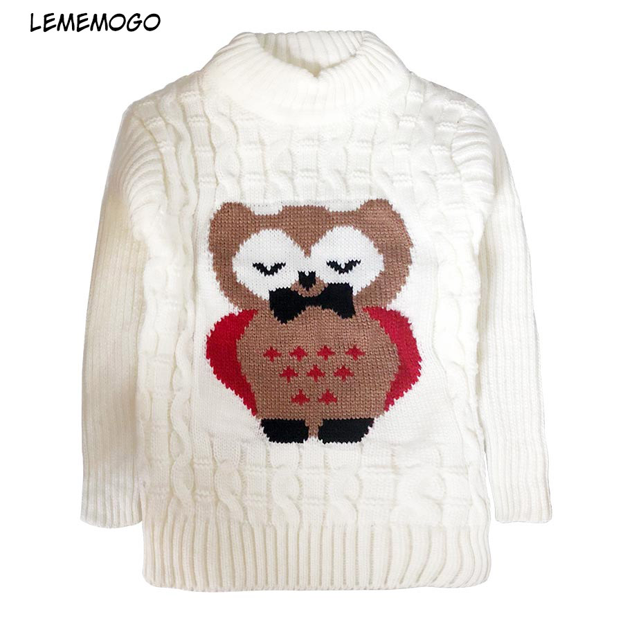 цена LEMEMOGO Kids Sweaters Girls Cartoon Owl Knitted Turtleneck Baby Sweater Autumn Winter Children Sweater Coats for Girl Clothing