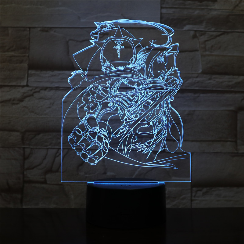 Edward Elric Figure USB 3D LED Night Light Boys Child Kids Baby Gifts Japanese anime Fullmetal Alchemist Table Lamp Bedside neon in LED Night Lights from Lights Lighting