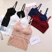 Sexy Women Fancy Lace Crop Top Cami Bralette  Floral Lace Padded Bra Tank Top V Neck Underwear Bralett Ladies Camisole 2019