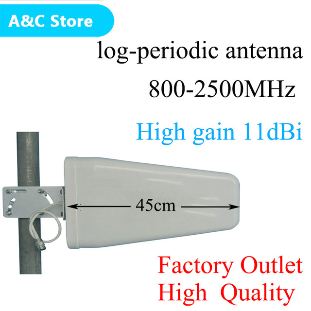 Log-periódica antena 11dBi 800 ~ 2500 mhz para CDMA/GSM DCS WCDMA 2G 3G 4 GLTE teléfono celular amplificador de señal/repetidor/amplificador n-hembra