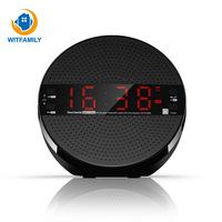Wireless Bluetooth Speaker Heavy Bass Steel Gun Clock Phone Alarm Clock Mini Computer Audio Radio Plug Box Digital Table Clocks