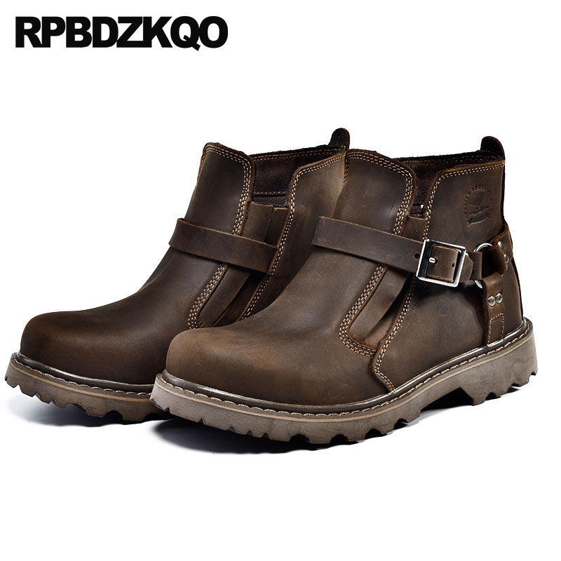 Brown Full Grain High Top Booties Safety Platform Ankle Chunky Winter Men Boots With Fur Runway Genuine Leather Shoes Short WorkBrown Full Grain High Top Booties Safety Platform Ankle Chunky Winter Men Boots With Fur Runway Genuine Leather Shoes Short Work