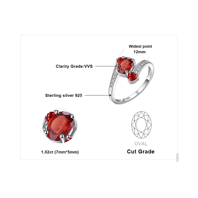 JewelryPalace Genuine Garnet Ring Solid 925 Sterling Silver Brand New For Women Hot Sale Fabulous Vintage Charm Gift Jewelry