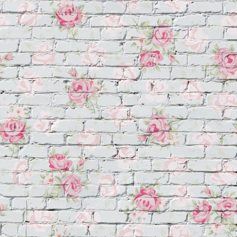 8x8FT Batu Bata Putih Dinding Pink Chic Bunga Kertas Pola