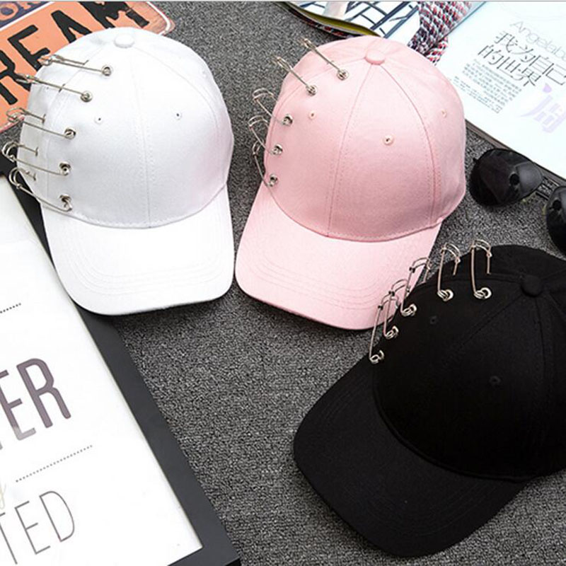 High quality fashion alternative unisex solid Ring Safety Pin curved hats baseball cap men women snapback caps casquette gorras fetsbuy high quality cap unisex snapback men baseball cap men caps basketball gorras fitted snapbacks hats for men women hat