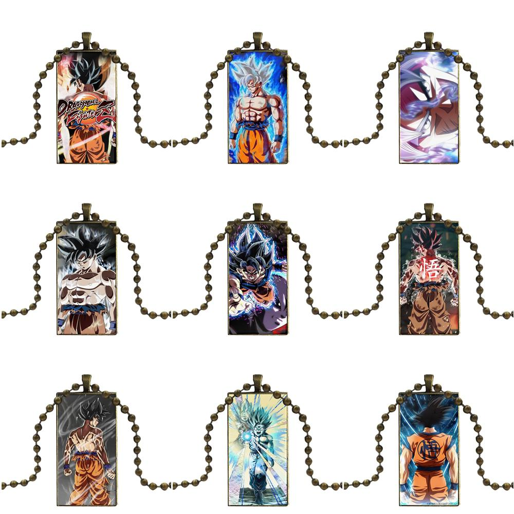 Design Fashion Vintage Glass Women Rectangle Necklace Pendants For Women Men Party Dragon Ball Z Super Goku New Transformation