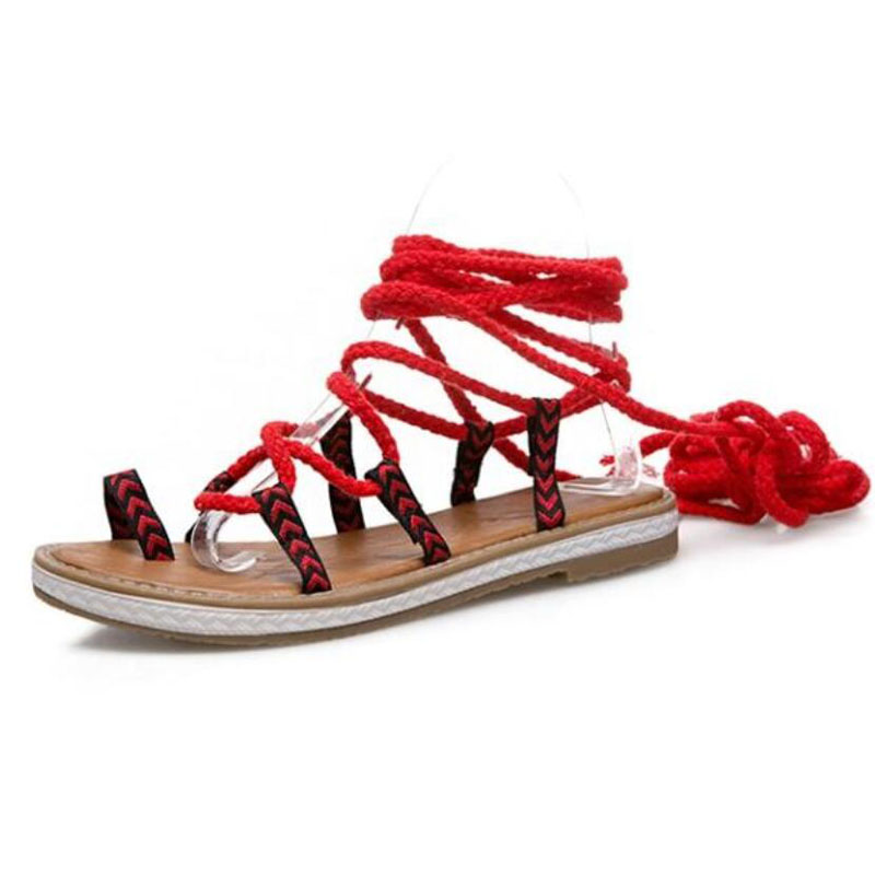2018 Fashion Simple Women Gladiator Sandals Summer Peep-toe Shoes Woman Flat with Cross-tied Female Flat Bottom Ethnic Sandals women sandals 2018 fashion summer shoes woman rome ankle strap flat sandals casual peep toe gladiator sandals low heel shoes