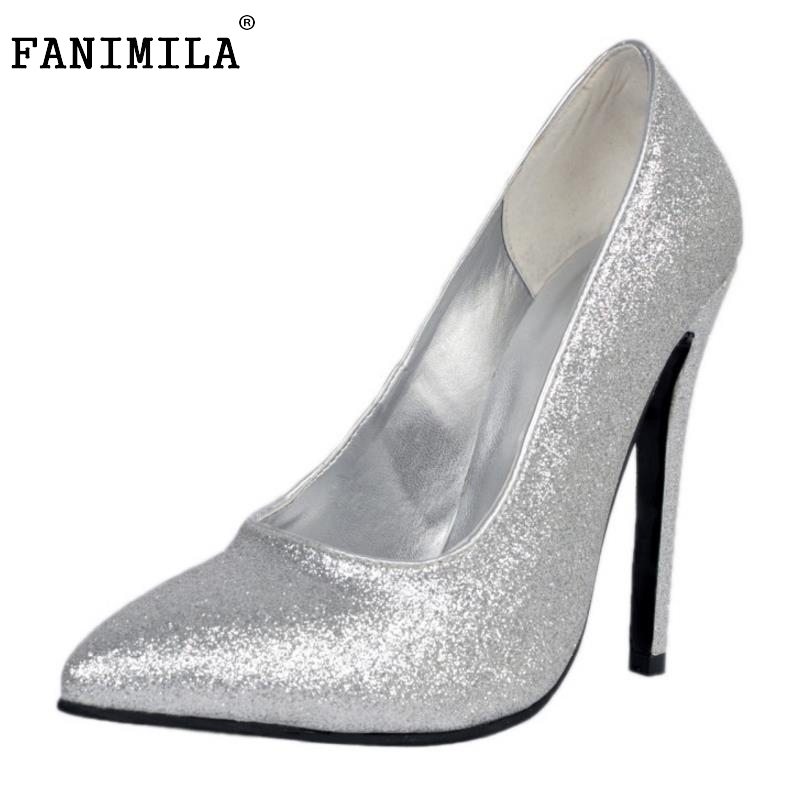 High Heels Women Pointed Toe Pumps Fashion Glitter Thin Heel Shoes Woman Sexy Wedding Party Heeled Footwear Shoes Size 34-47 2017 new spring summer shoes for women high heeled wedding pointed toe fashion women s pumps ladies zapatos mujer high heels 9cm