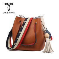 2018 Girls Cute Bucket Bags Bucket Leather Shoulder Sling Bags For Women Drawstring Handbags Ladies Small Crossbody Bucket Bag